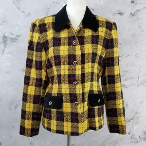LESLIE FAY 90's Vintage Yellow & Black Blazer